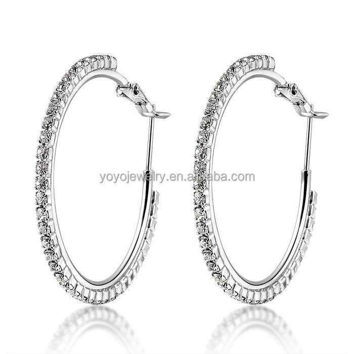 Fashion Jewelry Good Price Pave Clarity Crystal Chain Big 14k Gold Large Hoop Earrings