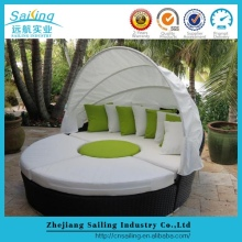 Comfortable Sun Beach Woven Plastic Rattan Round Outdoor Lounge Day Bed With Canopy