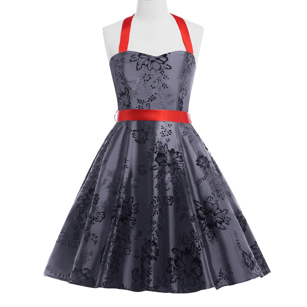 a990599fee681 Buy 2015 Robe women printed 50s 60s 40s gray Retro Vintage Halter N T  Taffeta dress knee length swing rockabilly dresses in Cheap Price on  m.alibaba.com