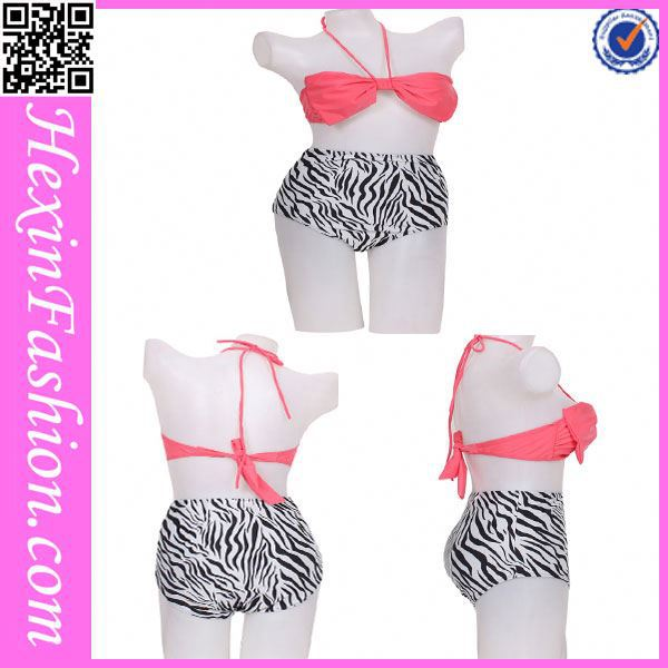 Red Bra&Zebra Print Thong High Waist Little Girls Bikini