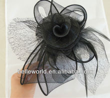 black Veil Feather hair bow hair band for weeding headpiece