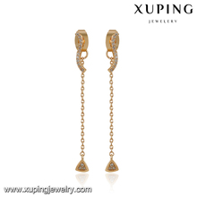 94569 Light weight gold jewelry delicate diamond triangle shape gold drop earrings