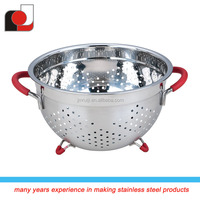 FDA Stainless Steel Fruit colander With Silicone Handle