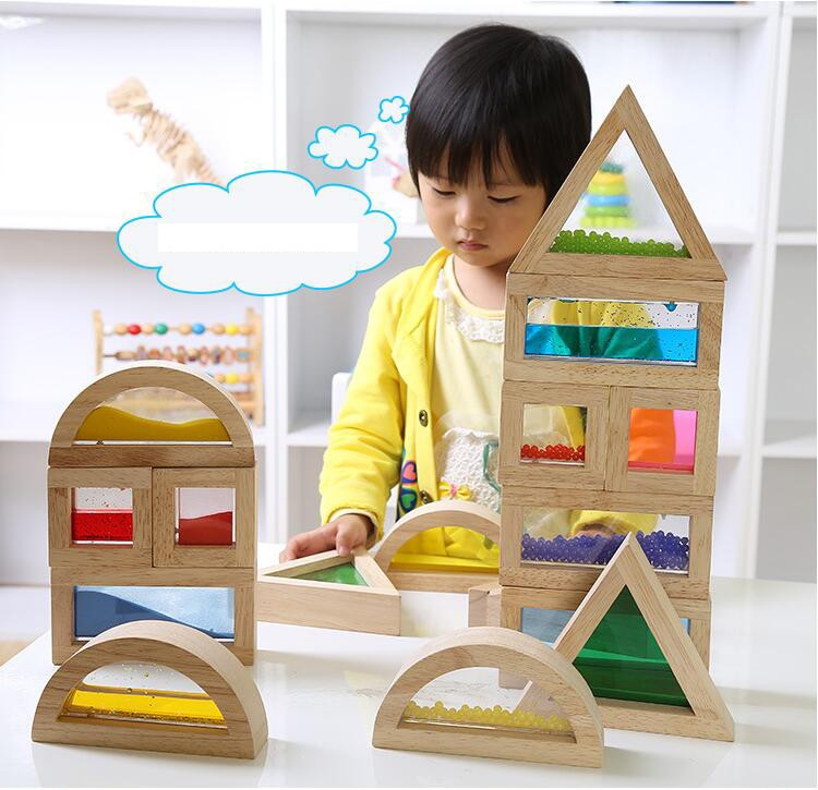 children toys new 2016 style Wooden and acrylic sound sensory building blocks toys Aids 16PCS