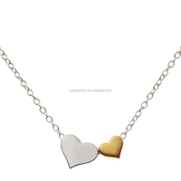 New Dubai Silver and Gold Double Heart Pendant Necklace Love 14k Gold Filled Necklace Jewelry