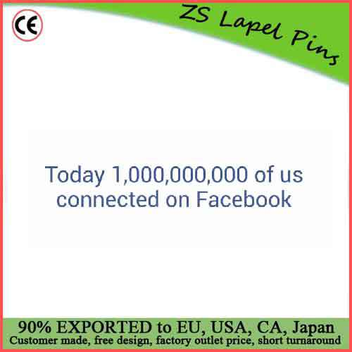 Free artwork design custom book of face one billion people connecte lapel pin