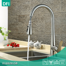 Brushed zinc alloy pull out single hole hot cold water mixer kitchen tap