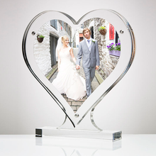 Magnetic Double Sided Clear Acrylic Lucite Heart Shaped Photo Picture Frame for wedding anniversary use