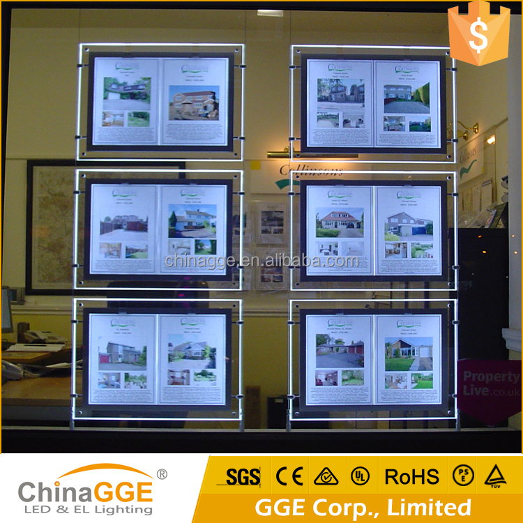 Suspended Hanging LED Light Box For Window Display Wire Hanging LED Acrylic Light Poster Picture Frame