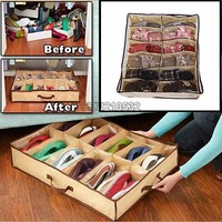 Top Quality Folding Storage Household Shoe Box 12 Cells Underbed Closet Organizers Fabric Fit For Collection
