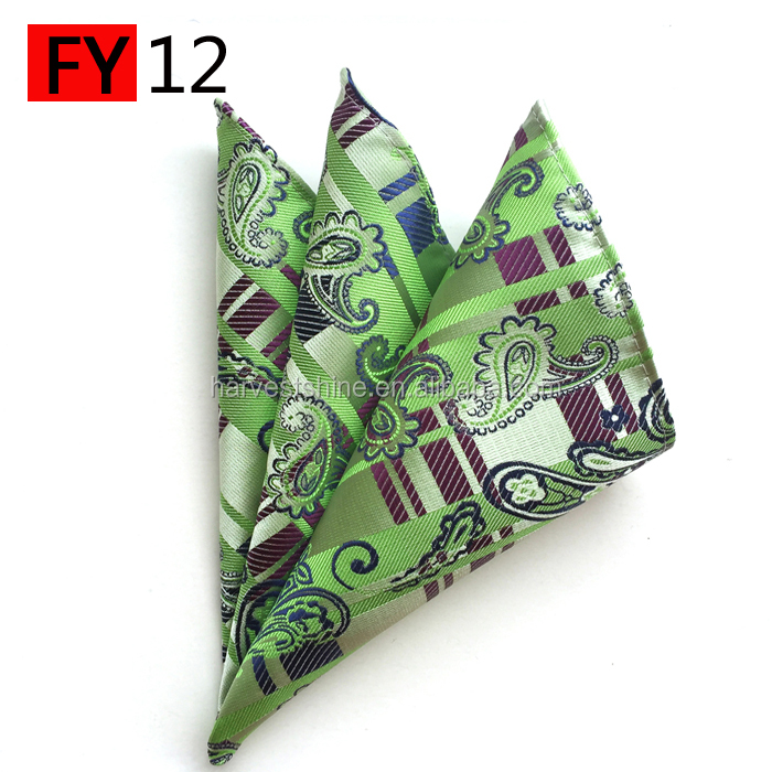 Men's paisley pocket square,scallop handkerchief in polyester fabric
