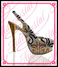 Aidocrystal wholesale royal gold crystal women dress shoes thin high heel slingback sandal