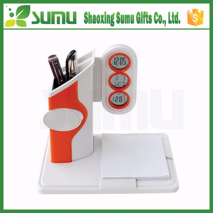 desk top use Carved logo printed foldable clock memo cube with pen holder