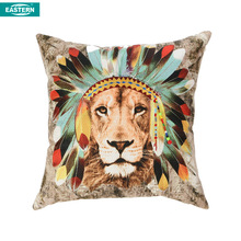 Wholesale factory supply the lion design printing and hand embroidered pillow cover
