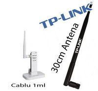 Adaptor Wireless 150mbps TP-LINK cu antena mini + Antena Wireless 30cm 32dbi TL-ANT2405CXW profesional - PACK