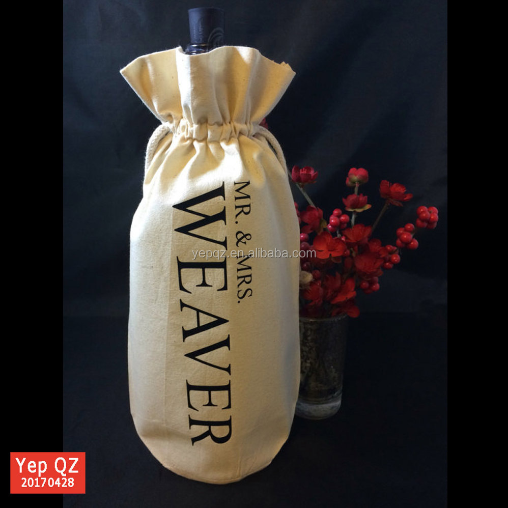 Recycled beige color wedding bottle gift custom pure cotton Wholesale Drawstring Wine Bag for wholesale