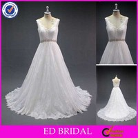 LN129 Modest V Front And Back Beaded Belt Real Sample Lace Wedding Gown