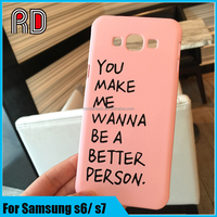 Hot korea stylish simple solid color pink cover words printed pc matte cell phone case for samsung s6 s6edge s7 s7edge
