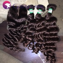 7A Malaysian virgin hair 3parts top lace closure with 2pcs/3pcs/4pcs human hair bundles 100% human hair free shipping by DHL