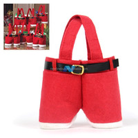 2013 Newest Red 5 pcs Cute Santa Pants Treat Candy Bags for Christmas Gift