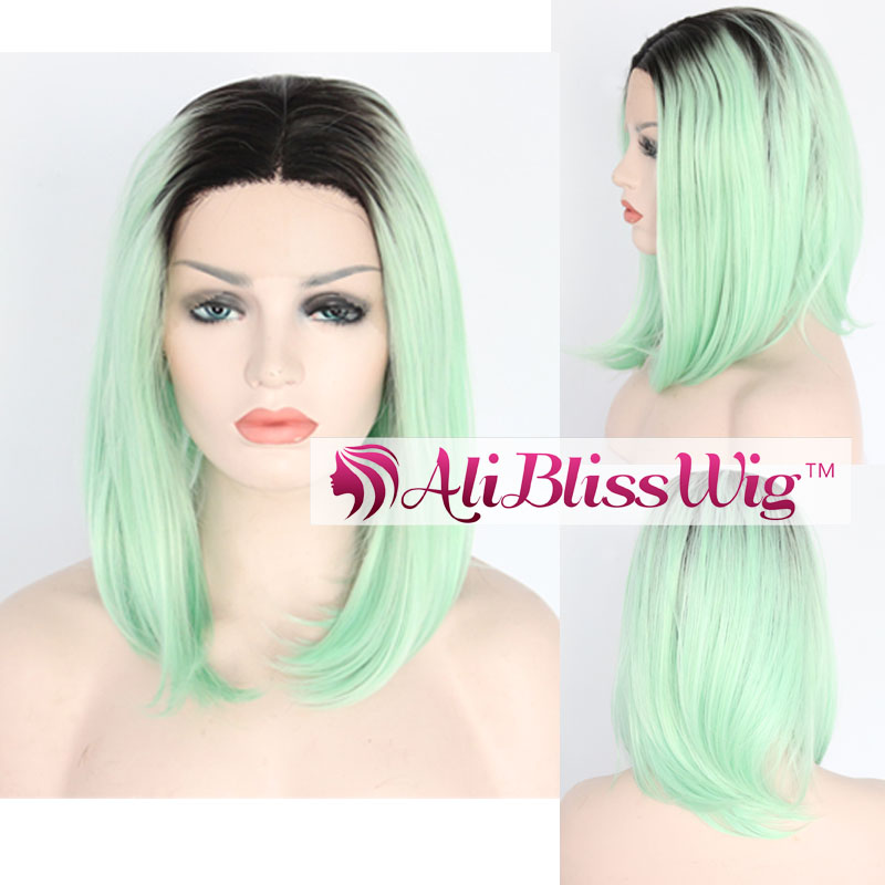 Best 12 inch Heat Resistant Fiber Hair Dark Roots Two Color Green Ombre Short Bob Lace Front Synthetic Wigs for Black Women