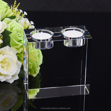 Good Quality Pure Clear K9 Crystal Tealight Candle Holder insert two candles