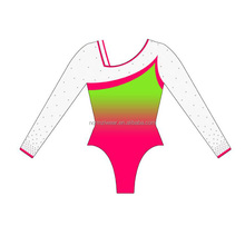 Wholesale Gymnastics Girls Long sleeve rhinestone spandex gymnastics leotard