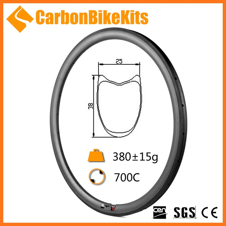 OEM Accept CarbonBikeKits 38mm profile tubular carbon bicycle rim 700c color fast delivery WR38T