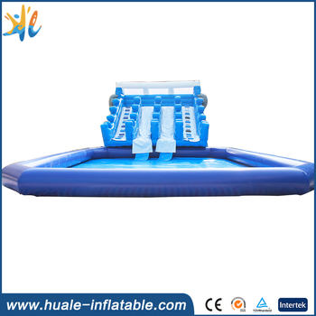 2017 Guanghzhou Huale inflatable water slide with pool / dolphin model slide / inflatable pool slide with Plato PVC tarpaulin