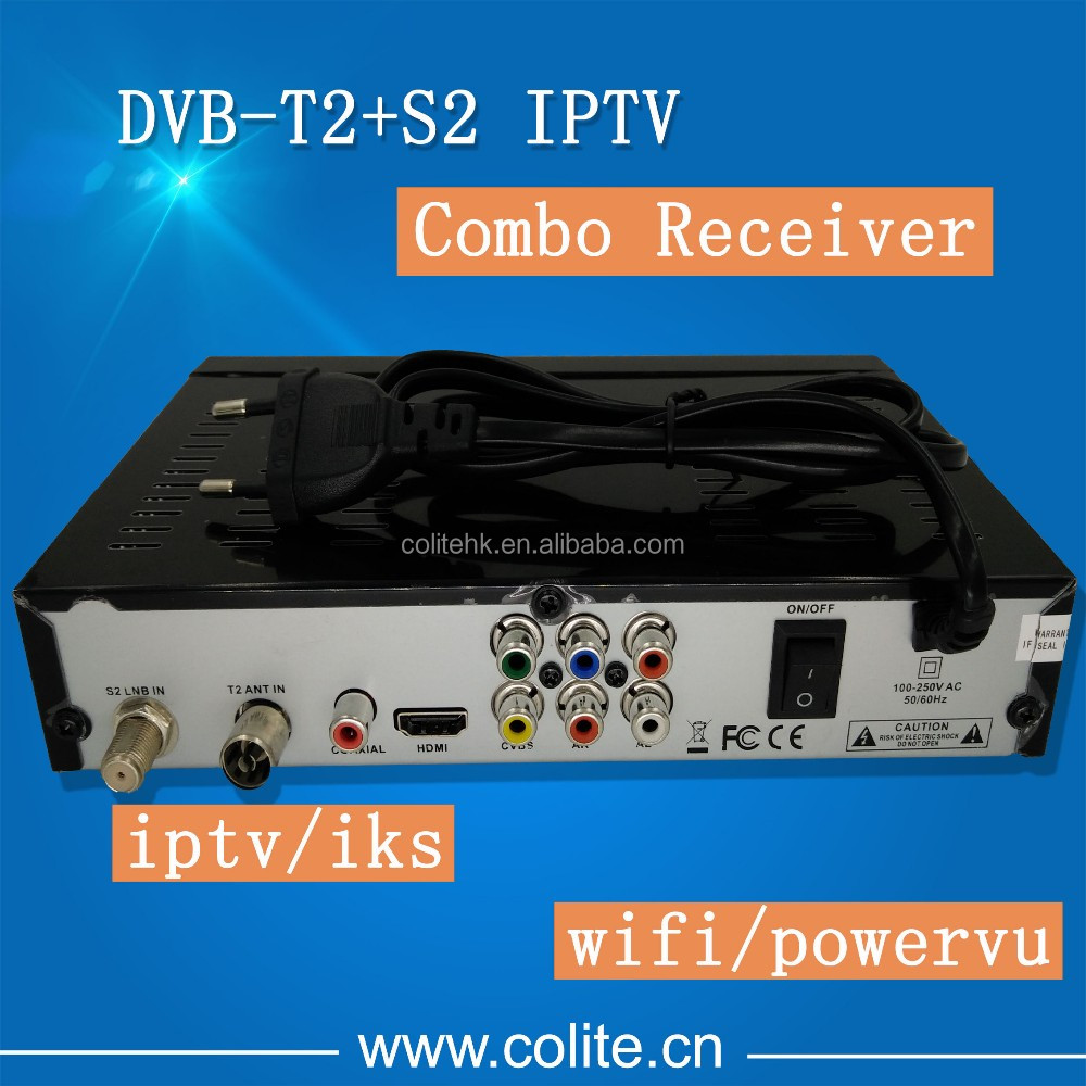 DVB-T2 S2 Combo FTA HD DVB-S2 Set Top Box Receiver Powervu IKS WIFI 3G