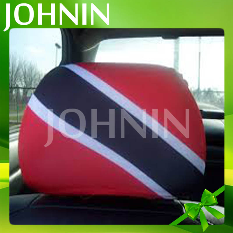 Promotional Elastic Polyester Heat Transfer Printing All National Flag Car seat Headrest Cover