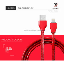 Factory wholesale Hot sales 2.4A 1 meters Snake leather Micro USB cable data sync charging cable for iphone