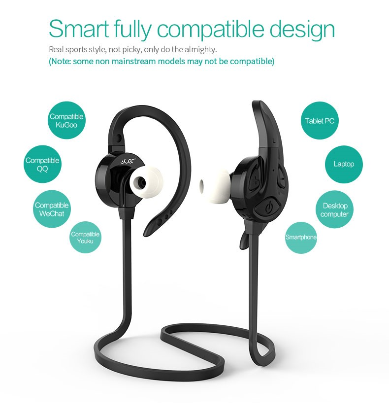 Made in Shenzhen stereo flat cable bluetooth earphone with mic Support OEM/ODM CE FCC Rohs BQB