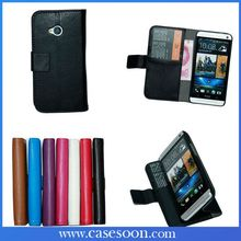 NEW Lychee Leather Case for HTC ONE M7 With Stand,For htc one 7 case