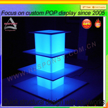 Customized fashion 4 tier square acrylic wedding cake display stand with led light