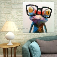 Wearing glasses animal frog art painting on canvas home wall hanging decoration decorative frogs
