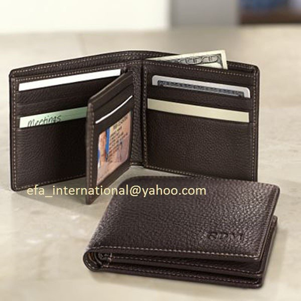 RFID Blocking Classical Men Genuine Leather center card wallet