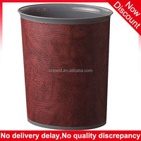 Guangzhou supplies Hotel guestroom red PU leather cover oval plastic garbage bin, garbage can stand