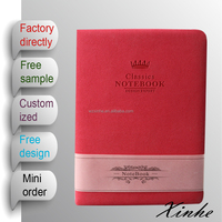2015 A5 hot pink leather embossed cover daily notebook for gift and for promotion