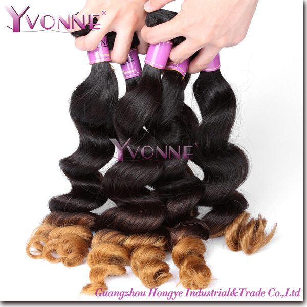 loose wave two tone virgin remy peruvian ombre hair extension