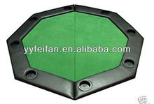 Octagon Poker Table Top with Leather, Woolen Cloth