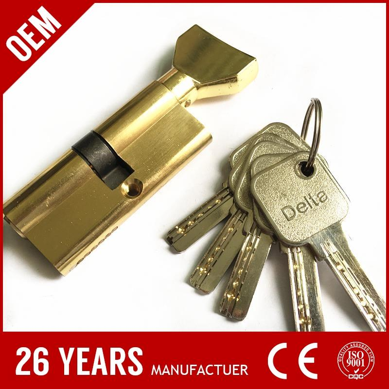 China top quality solild brass bathroom thumb turn removable euro cylinder with nickel plate