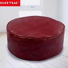 LUCKYSAC Large Round Faux Leather Pouffe Footstool Seat Foot Rest Bean Bag Unfilling