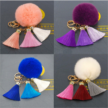 Yongze cheap rabbit soft bag keychain fur ice silk tassel fur key chain ball bags plush ball pendant custom keychain