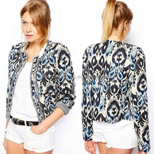 2015 Fashion New Women Round Neck Retro Beading Totem Printing Jackets Women Embroidery Short Coat WinterJacket Wadded Outerwear