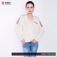 The most hot selling new 2016 women's sweater/lady sweater with suede