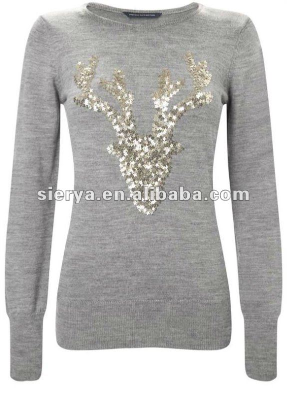 women's reindeer christmas jumper sweater with sequins embroidery