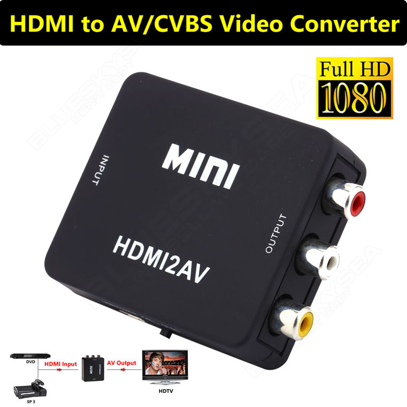 Mini HD Video Converter Box to RCA AV/CVSB L/<strong>R</strong> <strong>1080P</strong> 2AV For DVD Black