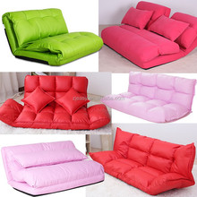 Korean style fabric folded sponge floor sofa with 5 positions adjustable backrest