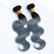 two tone ombre colored 1B/GREY body wave 6a grade virgin brazilian 100% human hair weave bundles braiding hair wholesale